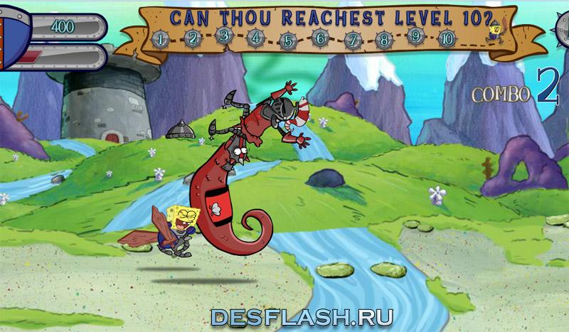 Игры Спанч Боб-рыцарь спасает принцессу