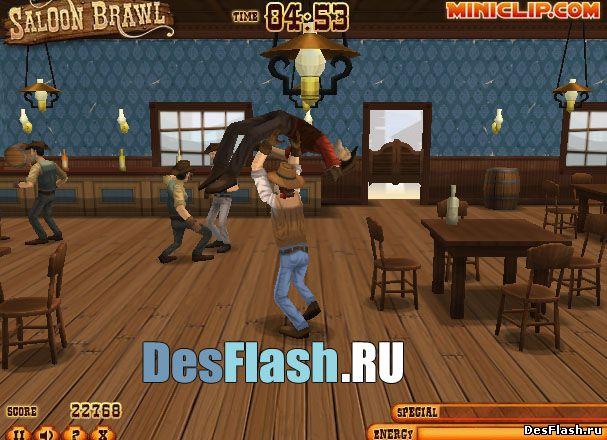 Игра Драка в баре: Saloon Brawl